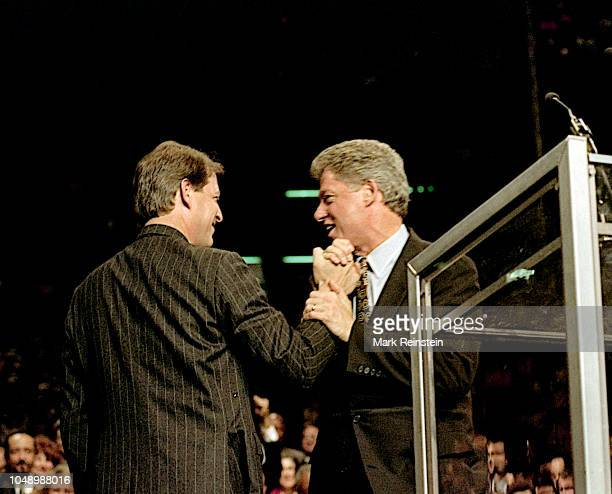 Tennessee Senator Albert Gore Jr and Arkansas Governor William Clinton the Democratic Presidential and VicePresidential candidates address a rally in...
