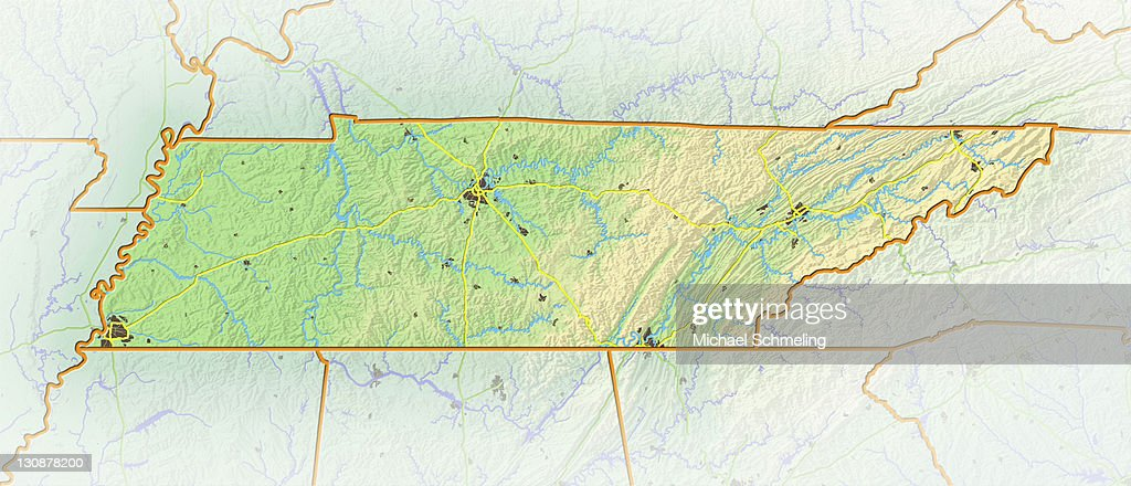 Tennessee Shaded Relief Map Usa Stock-Foto - Getty Images
