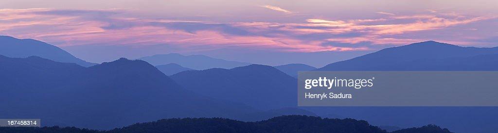 USA, Tennessee, Smoky Mountains National Park, Sunset landscape : Stock Photo