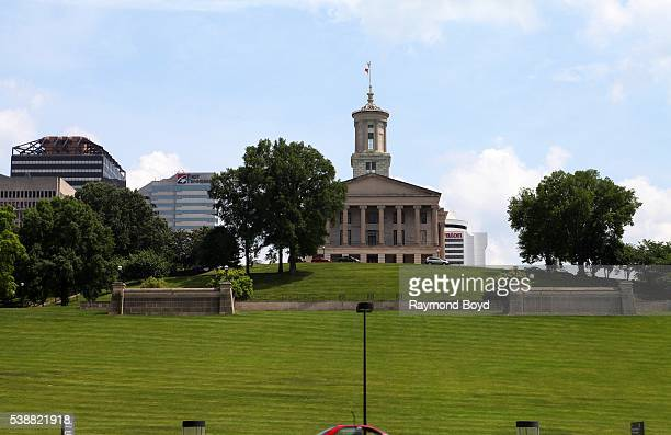Tennessee State Capitol Building as photographed from The Rivers Of Tennessee Fountain grounds at Bicentennial Capitol Mall State Park in Nashville...