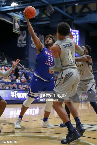 Tennessee State Tigers forward DaJion Henderson grabs a rebound during the first half of the college basketball game between the Tennessee State...