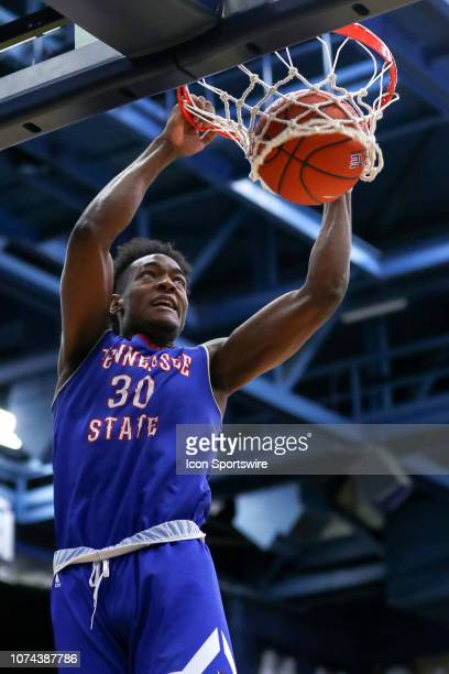 Tennessee State Tigers forward Stokley Chaffee Jr scores with a dunk during the first half of the college basketball game between the Tennessee State...