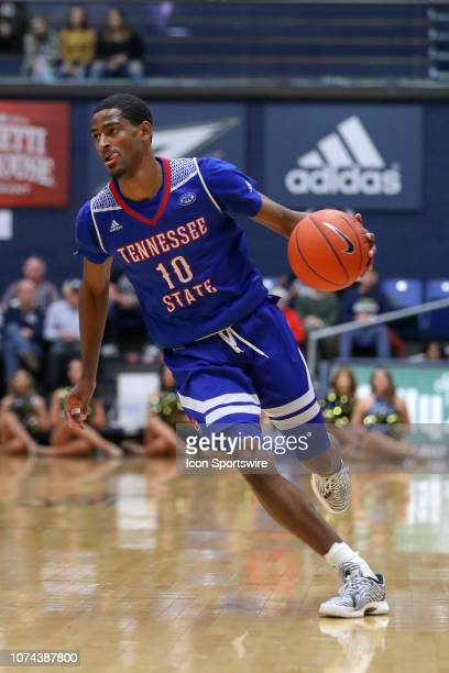 Tennessee State Tigers guard Tripp Davis with the basketball during the first half of the college basketball game between the Tennessee State Tigers...