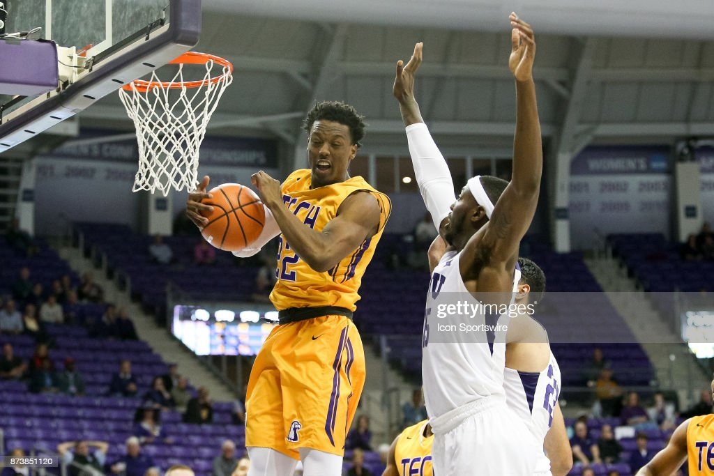 Tennessee Tech Golden Eagles forward Courtney Alexander II (22) comes down with a rebound during the game between the Tennessee Tech Golden Eagles and TCU Horned Frogs on November 13, 2017 at Ed & Rae Schollmaier Arena in Fort Worth, TX.