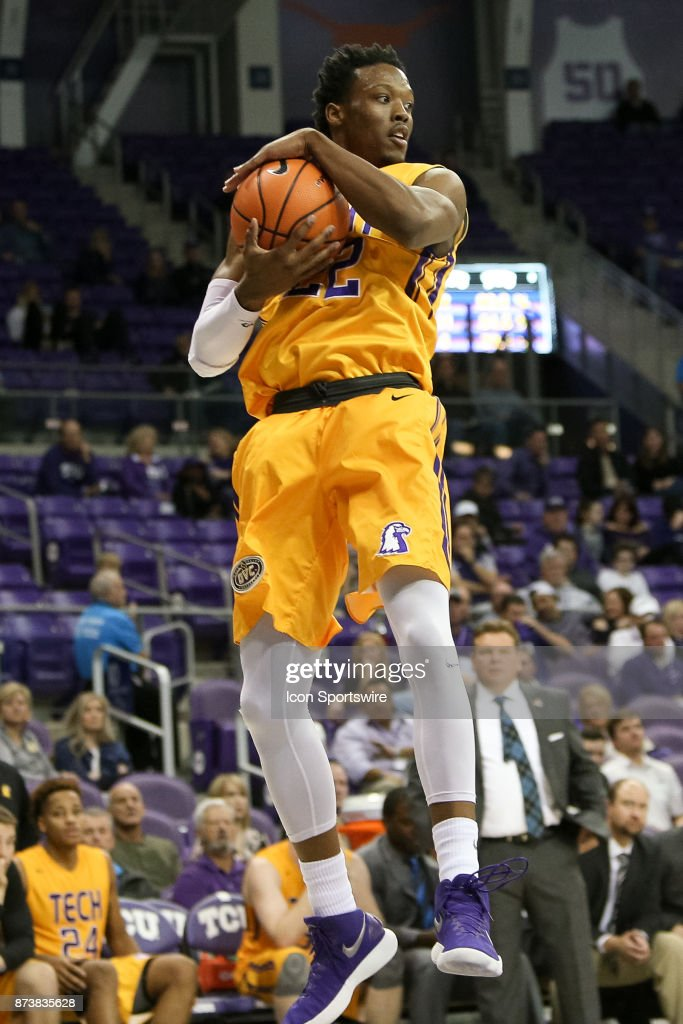 Tennessee Tech Golden Eagles forward Courtney Alexander II (22) rebounds the ball during the game between the Tennessee Tech Golden Eagles and TCU Horned Frogs on November 13, 2017 at Ed & Rae Schollmaier Arena in Fort Worth, TX.