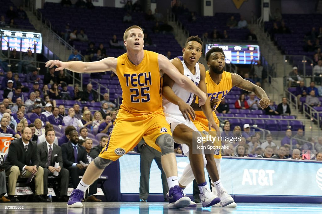 Tennessee Tech Golden Eagles forward Mason Ramsey (25) boxes out TCU Horned Frogs guard Desmond Bane (1) during the game between the Tennessee Tech Golden Eagles and TCU Horned Frogs on November 13, 2017 at Ed & Rae Schollmaier Arena in Fort Worth, TX.