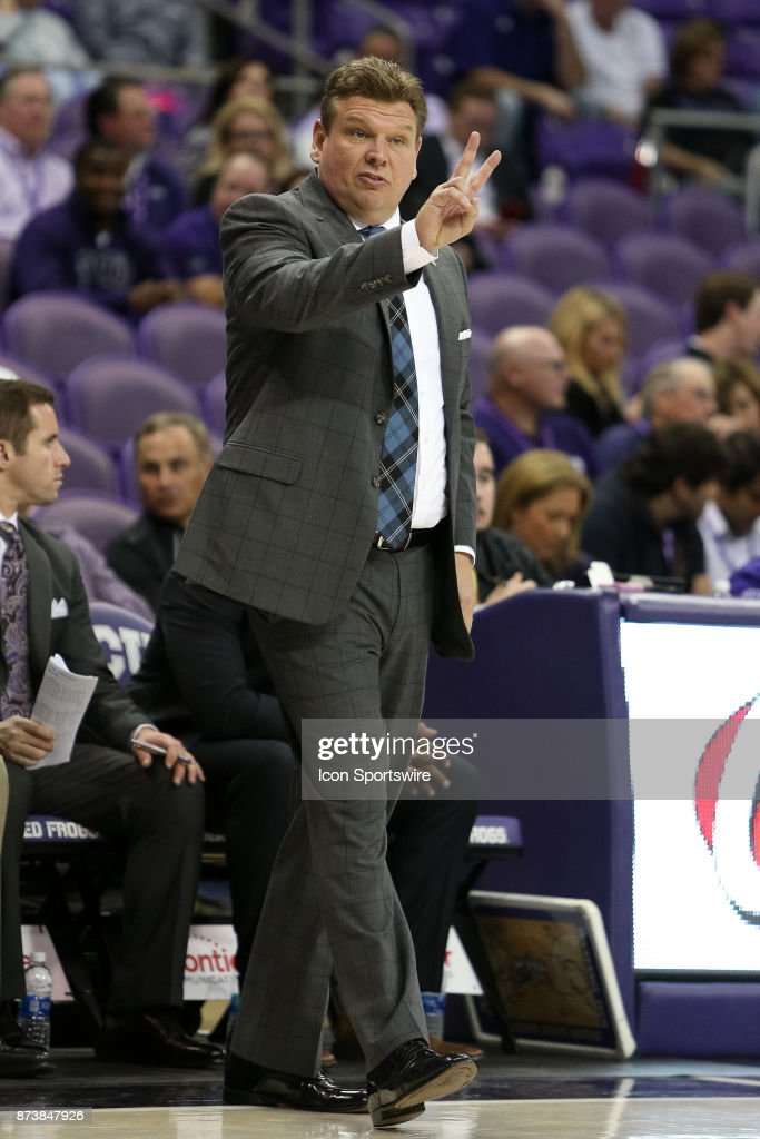 Tennessee Tech Golden Eagles head coach Steve Payne signals during the game between the Tennessee Tech Golden Eagles and TCU Horned Frogs on November 13, 2017 at Ed & Rae Schollmaier Arena in Fort Worth, TX.