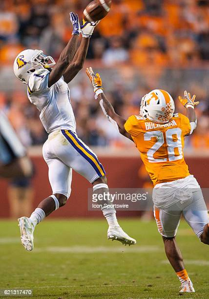 Tennessee Tech Golden Eagles wide receiver Dontez Byrd with a catch over Tennessee Volunteers wide receiver Will Martinez during a game between the...