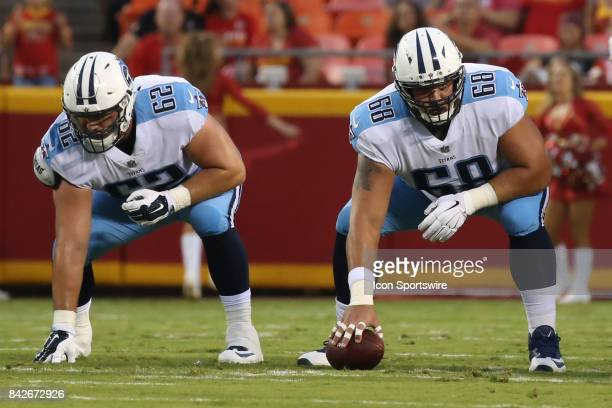 Tennessee Titans center Tim Lelito and guard Corey Levin in the first half of an NFL preseason game between the Tennessee Titans and the Kansas City...