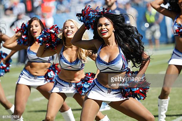 Tennessee Titans cheerleaders perform during the second quarter of the game against the Indianapolis Colts at Nissan Stadium on October 23 2016 in...