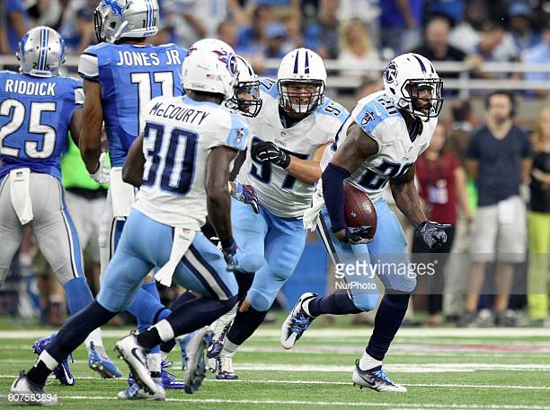 Tennessee Titans cornerback Perrish Cox celebrates after he intercepted the ball during thefourth quarter of an NFL football game against the Detroit...