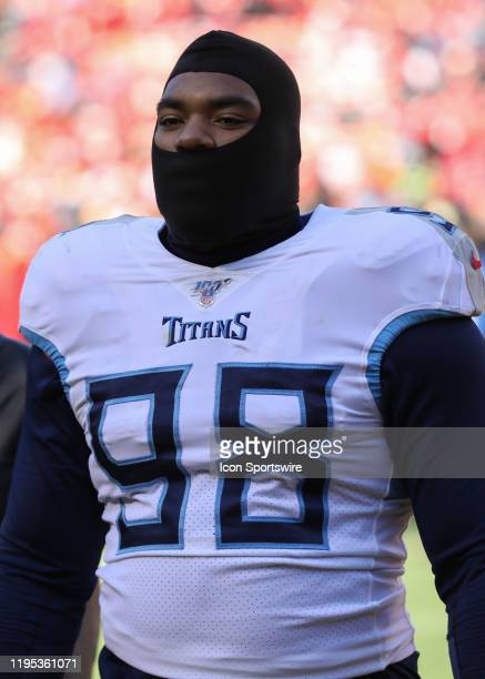 Tennessee Titans defensive tackle Jeffery Simmons before the AFC Championship game between the Tennessee Titans and Kansas City Chiefs on January 19...