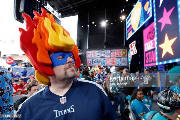 Tennessee Titans fan gets ready for the first round of the NFL Draft on April 25 2019 in Nashville Tennessee