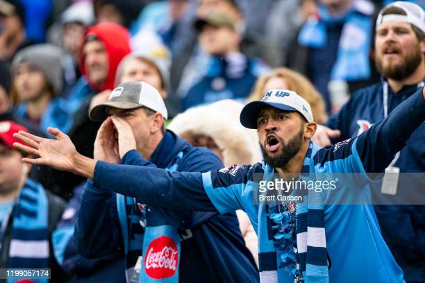 Tennessee Titans fans react during the fourth quarter against the New Orleans Saints at Nissan Stadium on December 22, 2019 in Nashville, Tennessee....