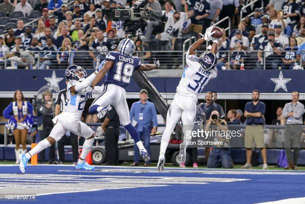 Tennessee Titans free safety Kevin Byard intercepts a pass during the game between the Tennessee Titans and Dallas Cowboys on November 5 2018 at ATT...