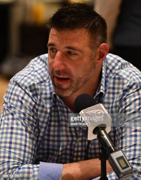 Tennessee Titans head coach Mike Vrabel answers questions during the AFC NFC coaches breakfast at the 2018 NFL Annual Meetings at the Ritz Carlton...