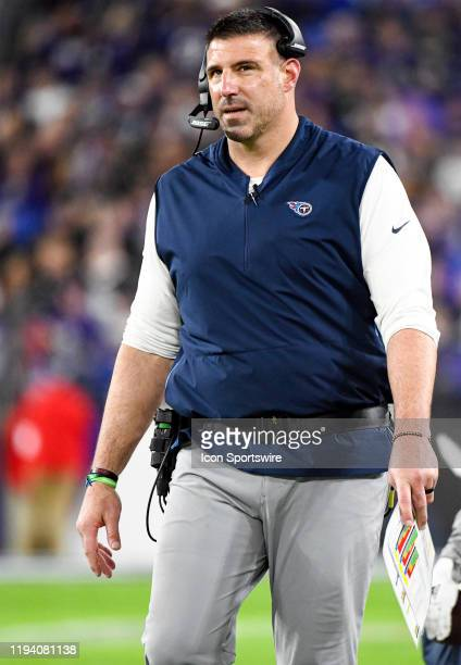 Tennessee Titans head coach Mike Vrabel stands on the sidelines on January 11 at MT Bank Stadium in Baltimore MD in the AFC Divisional Playoff...