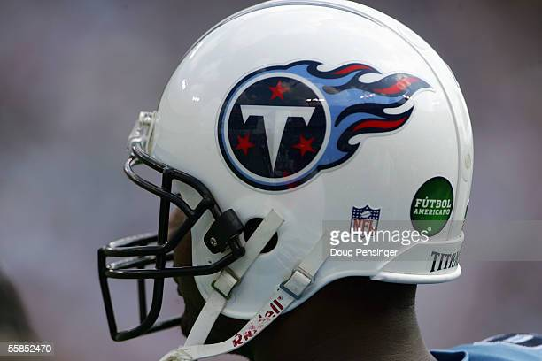 Tennessee Titans helmet displays the Futbol Americano logo during the game against the Indianapolis Colts at The Coliseum on October 2 2005 in...