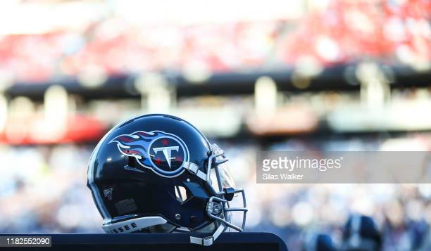 Tennessee Titans helmet sits on the sideline during the game against the Los Angeles Chargers at Nissan Stadium on October 20, 2019 in Nashville,...