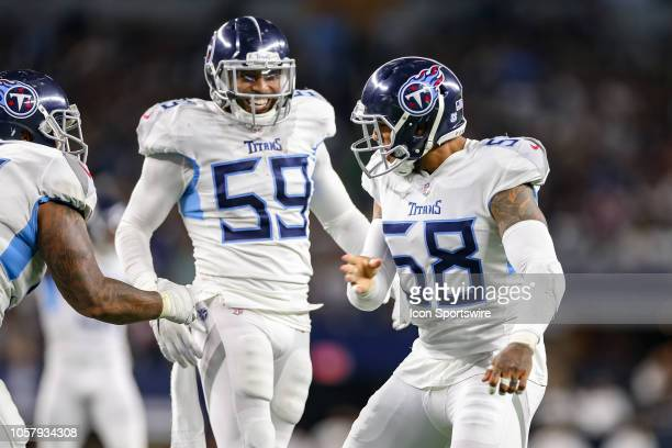 Tennessee Titans linebacker Harold Landry celebrates his sack during the game between the Tennessee Titans and Dallas Cowboys on November 5 2018 at...