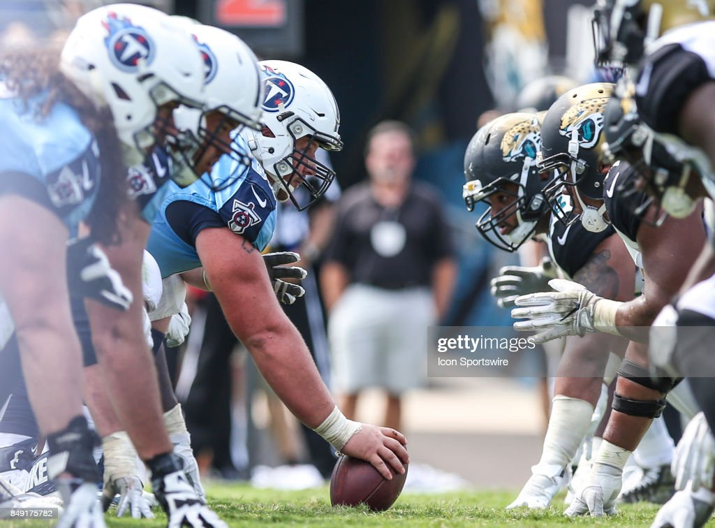 Tennessee Titans offensive lineman and Jacksonville Jaguars offensive linemen prior to a snap during the game between the Tennessee Titans and the Jacksonville Jaguars on September 17, 2017 at EverBank Field in Jacksonville, Fl.