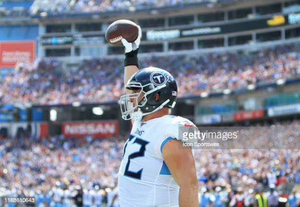 Tennessee Titans offensive tackle David Quessenberry celebrates a touchdown catch during a game between the Tennessee Titans and Indianapolis Colts,...