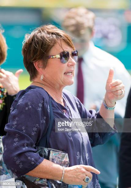 Tennessee Titans owner Amy Adams Strunk gives a thumbs up on the sidelines before the start of an NFL game between the Tennessee Titans and the Miami...
