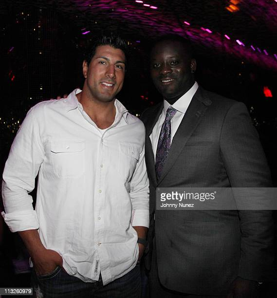Tennessee Titans player Jason Babin and Houston Texans player Jarvis Green attend the Welecome to the League Dinner at Juliet on April 28 2011 in New...