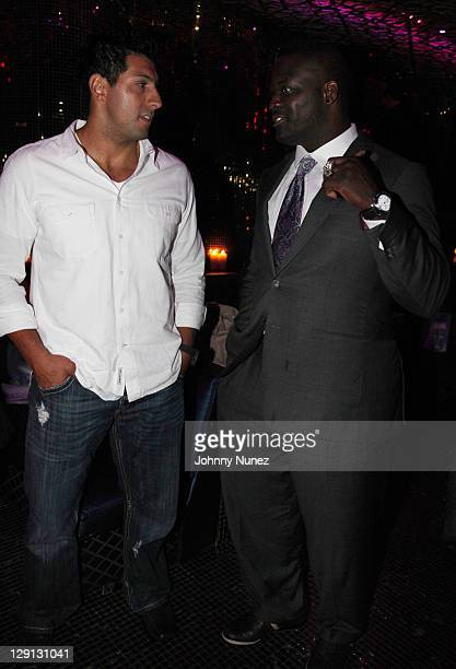 Tennessee Titans player Jason Babin and Houston Texans player Jarvis Green attend the Welcome to the League Dinner at Juliet on April 28 2011 in New...