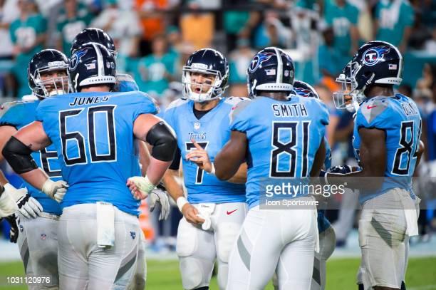 Tennessee Titans Quarterback Blaine Gabbert calls a play in the huddle with Tennessee Titans Offensive Guard Josh Kline Tennessee Titans Center Ben...