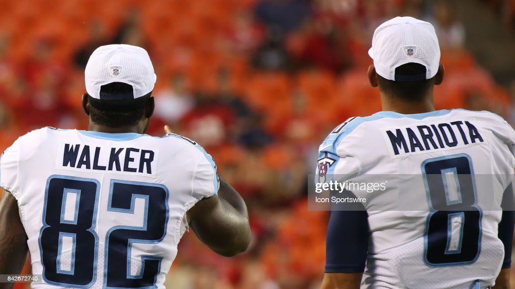 Tennessee Titans quarterback Marcus Mariota (8) and tight end Delanie Walker (82) in the first half of an NFL preseason game between the Tennessee Titans and the Kansas City Chiefs on August 31, 2017 at Arrowhead Stadium in Kansas City, MO.