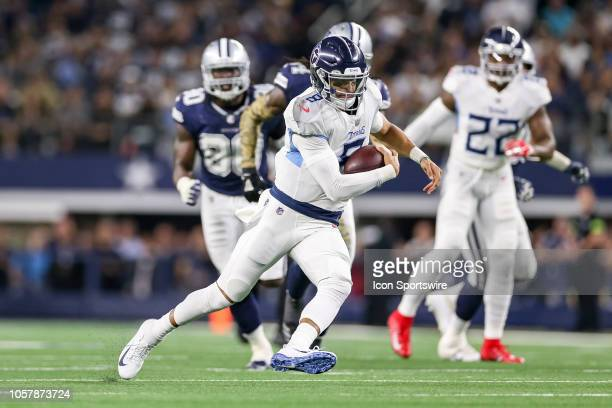 Tennessee Titans quarterback Marcus Mariota carries the ball during the game between the Tennessee Titans and Dallas Cowboys on November 5 2018 at...