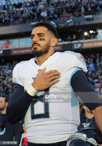 Tennessee Titans Quarterback Marcus Mariota during the national anthem prior to a game between the Tennessee Titans and Washington Redskins December...