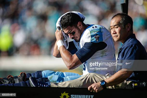 Tennessee Titans Quarterback Marcus Mariota is carted off the field after breaking his leg during the NFL game between the Tennessee Titans and the...