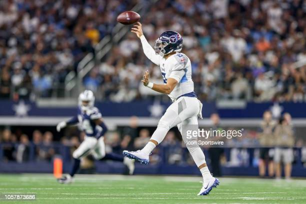 Tennessee Titans quarterback Marcus Mariota passes during the game between the Tennessee Titans and Dallas Cowboys on November 5 2018 at ATT Stadium...