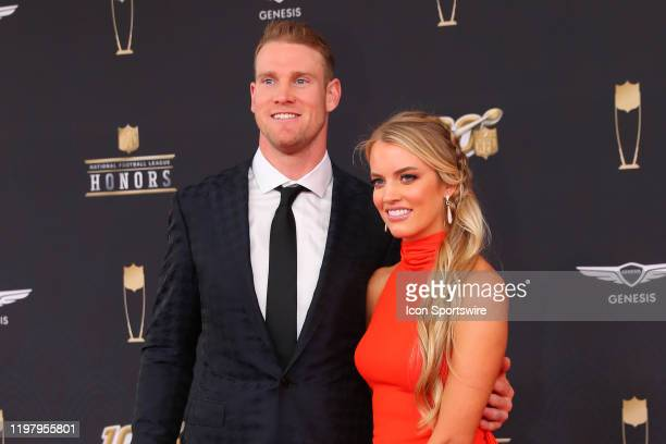 Tennessee Titans quarterback Ryan Tannehill and his wife Lauren pose on the Red Carpet poses prior to the NFL Honors on February 1 2020 at the...