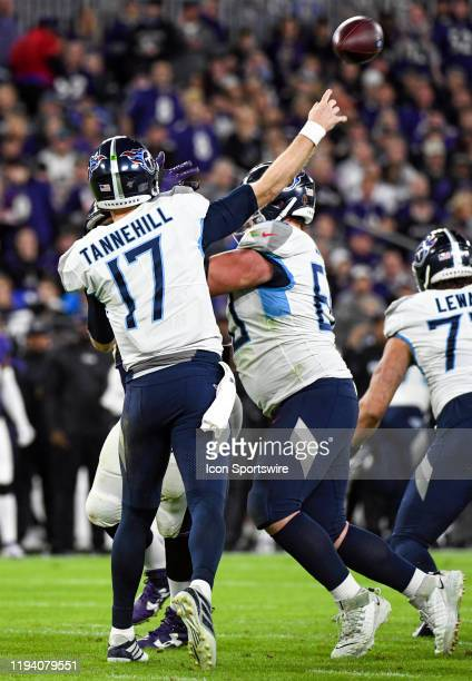 Tennessee Titans quarterback Ryan Tannehill complete a pass on January 11 at MT Bank Stadium in Baltimore MD in the AFC Divisional Playoff against...