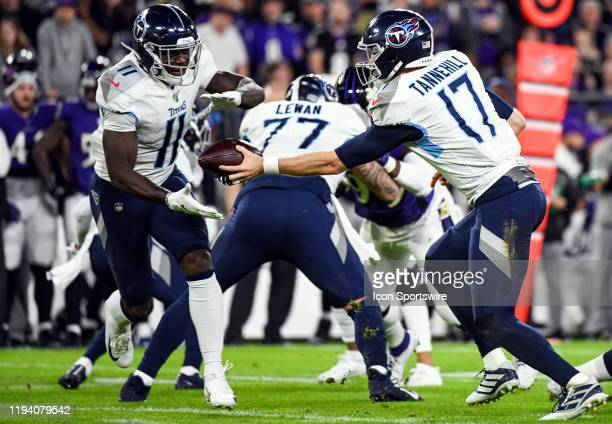 Tennessee Titans quarterback Ryan Tannehill hands the ball off to wide receiver AJ Brown on January 11 at MT Bank Stadium in Baltimore MD in the AFC...