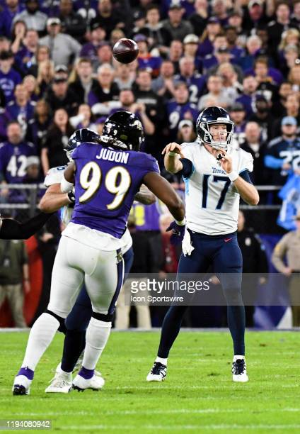 Tennessee Titans quarterback Ryan Tannehill throws under pressure on January 11 at MT Bank Stadium in Baltimore MD in the AFC Divisional Playoff...