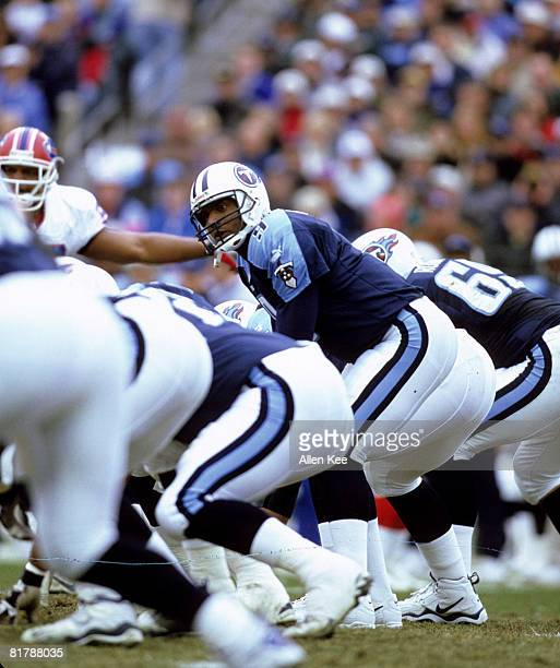 Tennessee Titans quarterback Steve McNair barks signals at the line of scrimmage during the AFC Wildcard Playoff a 2216 victory over the Buffalo...