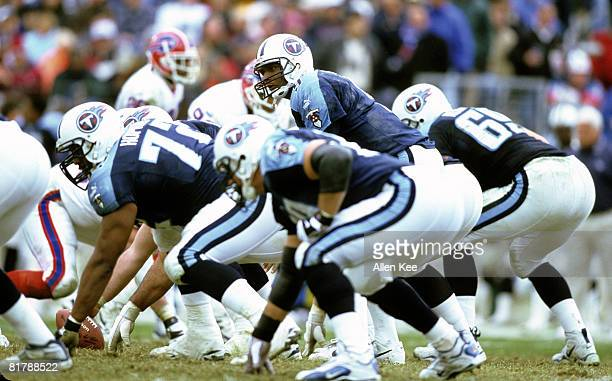 Tennessee Titans quarterback Steve McNair barks signals during the AFC Wildcard Playoff a 2216 victory over the Buffalo Bills on January 8 at...