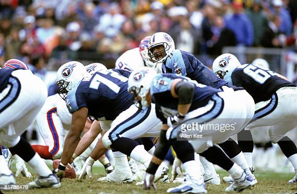 Tennessee Titans quarterback Steve McNair barks sits over center during the AFC Wildcard Playoff a 2216 victory over the Buffalo Bills on January 8...
