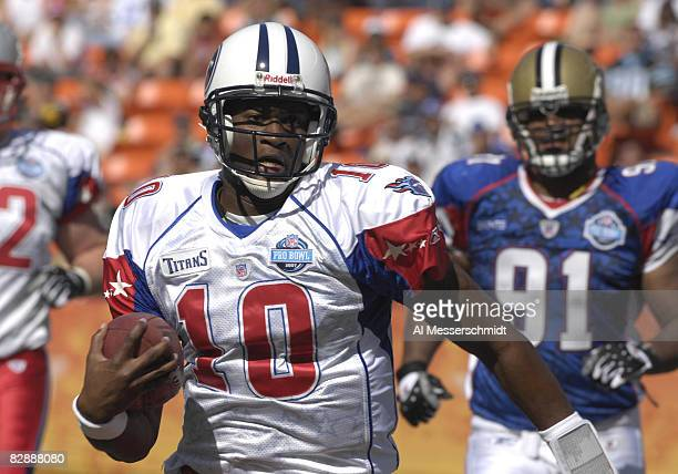 Tennessee Titans quarterback Vince Young rushes upfield Feb 10 2007 at the 2007 Pro Bowl at Kapolei Hawaii