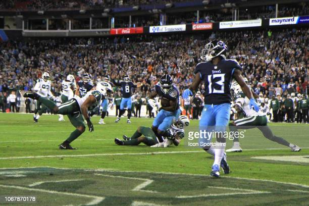 Tennessee Titans receiver Corey Davis scores the winning touchdown in the second half of a game between the Tennessee Titans and New York Jets...