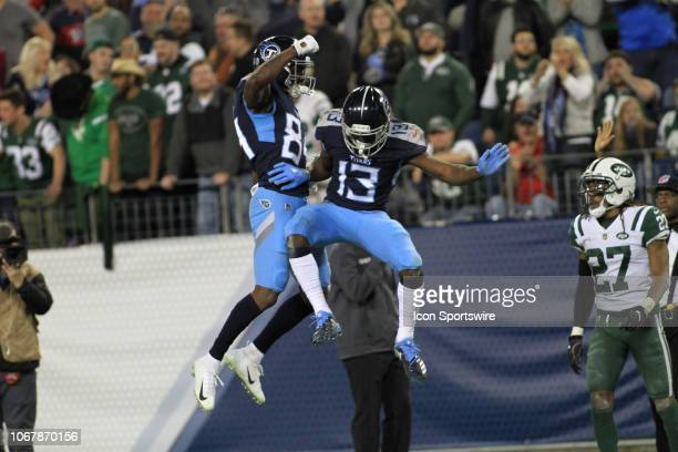 Tennessee Titans receiver Taywan Taylor and Corey Davis celetrate a catch in the second half of a game between the Tennessee Titans and New York Jets...