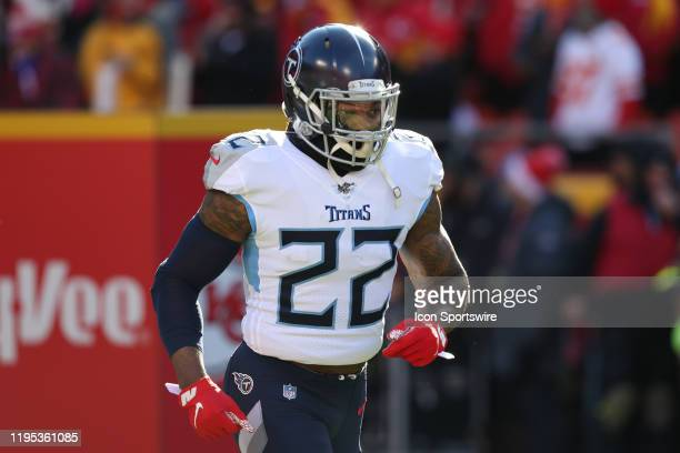 Tennessee Titans running back Derrick Henry before the AFC Championship game between the Tennessee Titans and Kansas City Chiefs on January 19, 2020...