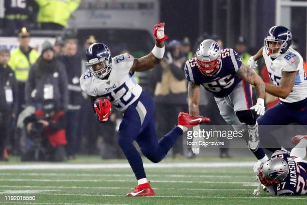 Tennessee Titans running back Derrick Henry bursts into the secondary during an AFC Wild Card game between the New England Patriots and the Tennessee...
