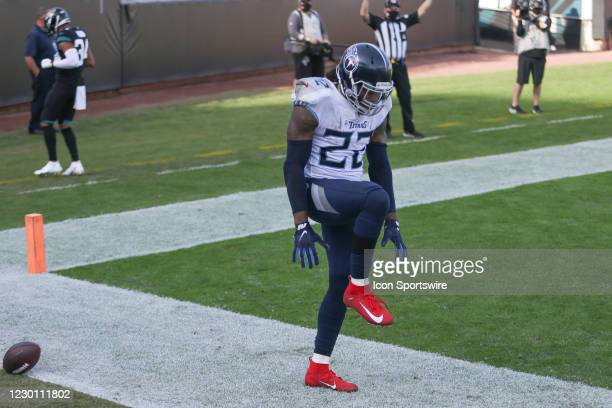 Tennessee Titans Running Back Derrick Henry celebrates a touchdown during the game between the Tennessee Titans and the Jacksonville Jaguars on...