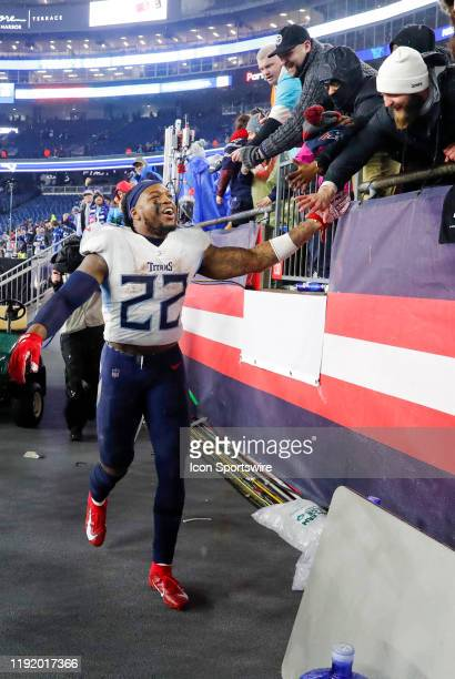 Tennessee Titans running back Derrick Henry greets fans after an AFC Wild Card game between the New England Patriots and the Tennessee Titans on...