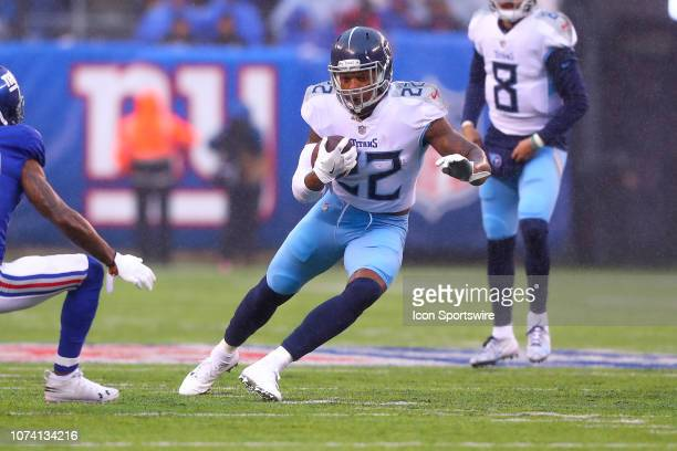 Tennessee Titans running back Derrick Henry runs during the first quarter of the National Football League game between the New York Giants and the...